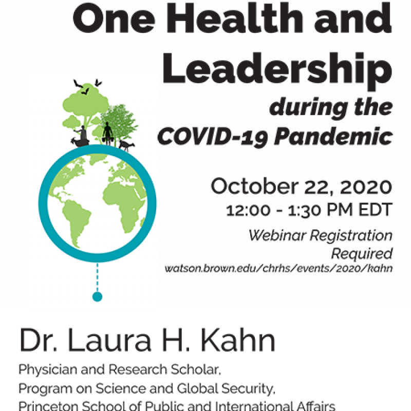 Flier for the event with Dr. Laura Kahn