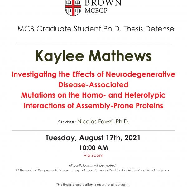 Kaylee Mathews Thesis Defense
