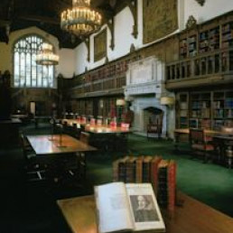 The Gail Kern Paster Reading Room at the Folger Shakespeare Library, with a First Folio in the fo...