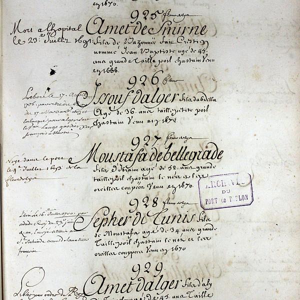 A page from a naval register of enslaved rowers, ca. 1682. Toulon, Service historique de la Défen...