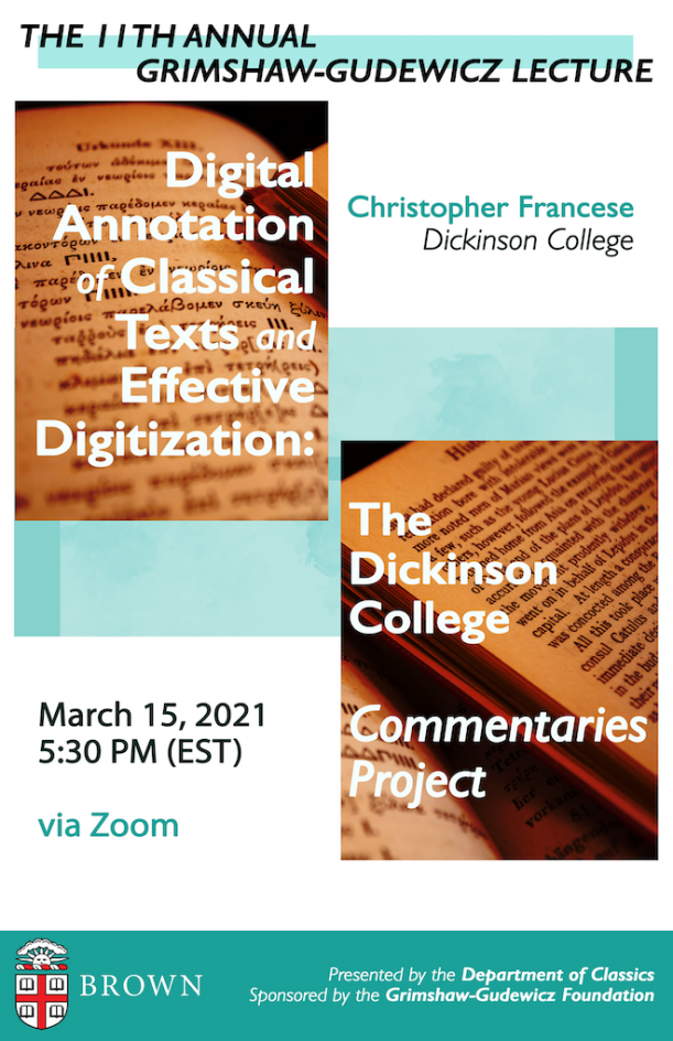 Event poster created by Classics Concentrator, Sophia Papandonatou ('22)