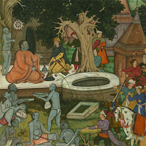 Babur and His Retinue Visiting Gor Khatri from the Baburnama (Book of Babur)