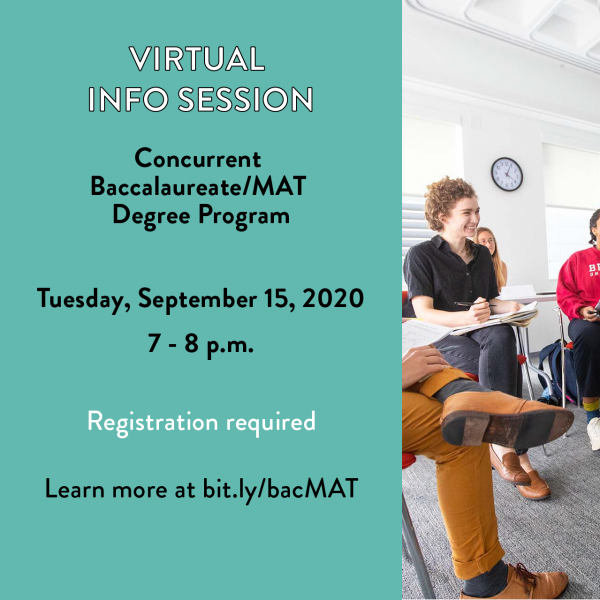 9/15: concurrent baccalaureate/MAT degree program info session