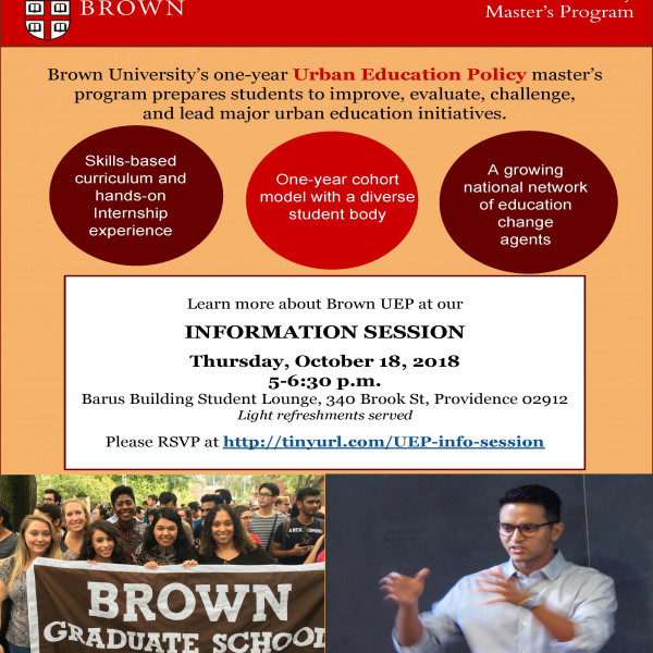 RSVP now for our 10/18 Urban Education Policy master's program info session