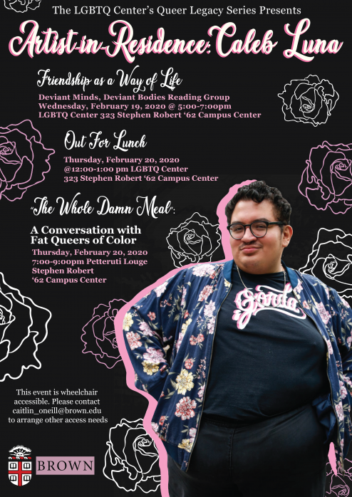 Fat queer Tejanx femme Caleb Luna stands on a poster filled with white and pink outlines of styli...